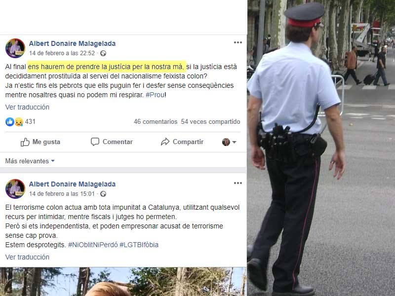 The leader of the nationalist mossos encourages